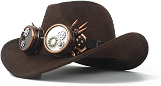 SHENTIANWEI Fashion Men Women Wool Western Cowboy Hat with Gear Glasses Church Hat Sombrero Hat Roll Up Fascinator Hat Size 56-58CM