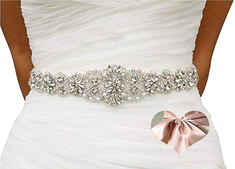 KunLai Champagne Blush Rhinestone Belt Rhinestone Belts for Kids Crystal Sash Diamond Bridal Sash