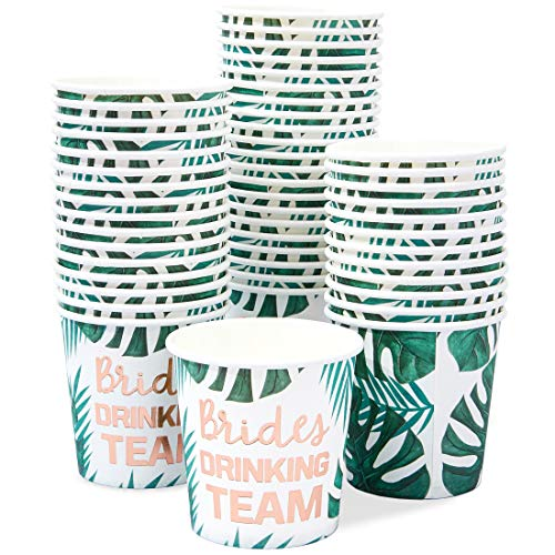 Brides Drinking Team Paper Cups for Bachelorette Party and Bridal Shower (50, 4oz)