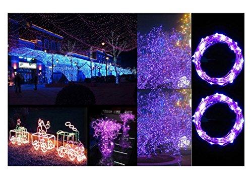 ILOVEDIY - GDEALER Catena luminosa in filo di rame, 2 metri, 20LED, decorazione per interni ed esterni con telecomando per Natale, matrimoni, casa, scale, alberi Lila-2M mit 20 LED-Lämpchen