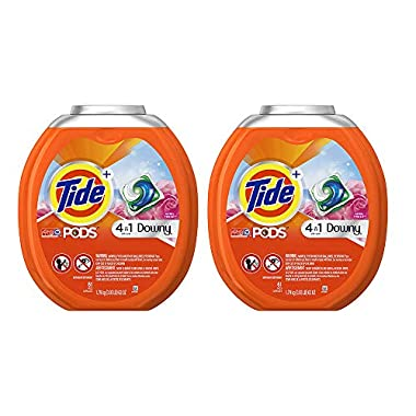 Tide PODS Plus Downy 4 in 1 HE Turbo Laundry Detergent Pacs, April Fresh Scent, 61 Count (2 Tubs)