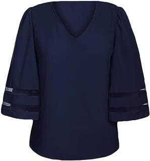 Women Bell Sleeve Shirt Mesh Panel Blouse V Neck Casual Loose Tops