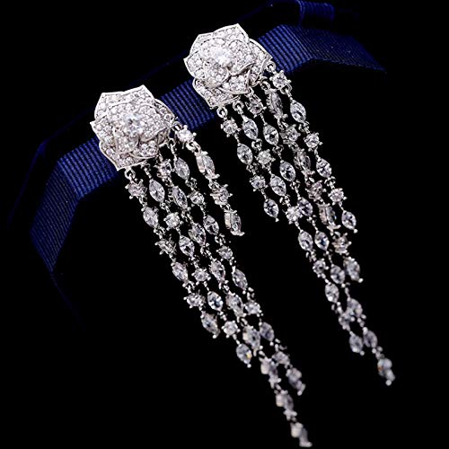 BAJIE Earring Long Tassel Flower Drop Korean Wedding Earring For Bride For Women