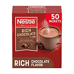 Nestlé hot cocoa, rich chocolate flavor is a rich tasting hot cocoa mix with vanilla notes that creates a rich and indulgent chocolate flavor. Made with real Nestlé cocoa using sustainably sourced cocoa beans Dispenser box of 50 count of cocoa sachet...