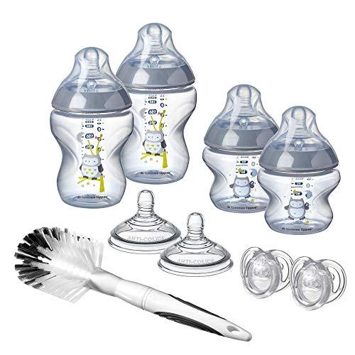 Tommee Tippee Closer to Nature Trinkflaschen-Starter-Set für Neugeborene, brustähnlicher Sauger mit Anti-Kolik-Ventil, 9-teilig, Ollie die Eule
