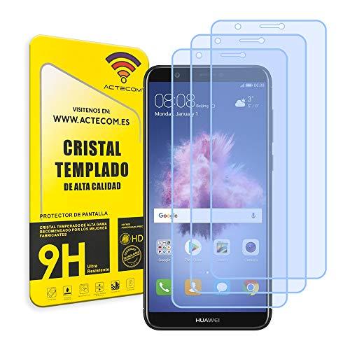 ACTECOM Pack de 3 Protector de Pantalla Compatible con Huawei P SMART Cristal Templado CASE FRIENDLY 9H 2.5D (3 uds.)