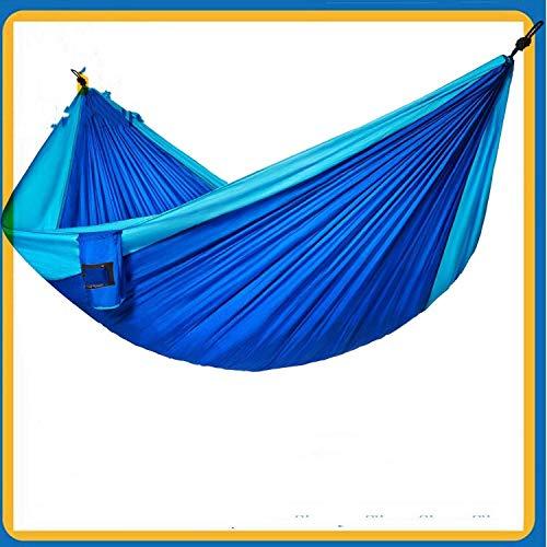 WEHOLY Hamac Swing Double Hamac Parachute Tissu Hamac extérieur Swing Convient pour Le Jardin Voyage Camping Voyage Hamac de Camping (Couleur: Bleu Royal Bleu Ciel, Taille: 300x200cm)