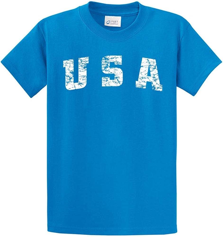Joe's USA -Tall Vintage USA Logo Tee T-Shirts in Size Large Tall - LT Sapphire