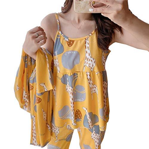 Pijamas para Mujer, 3 Piezas, Ropa de Dormir de satén, Pijama de Seda, Ropa para el hogar, Bordado, Pijama para salón, Conjunto de Pijamas