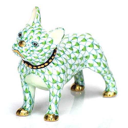 Herend Puppy Dog Frenchie Porcelain Figurine Key Lime Fishnet