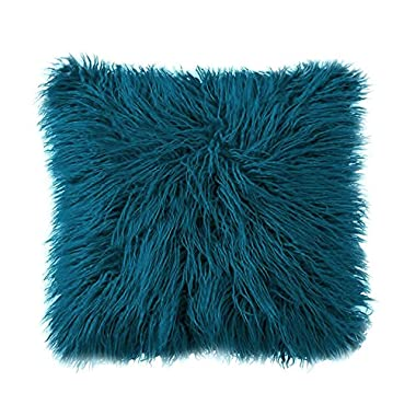Ojia Deluxe Home Decorative Super Soft Plush Mongolian Faux Fur Throw Pillow Cover Cushion Case (18 x 18 Inch, Drak Blue)