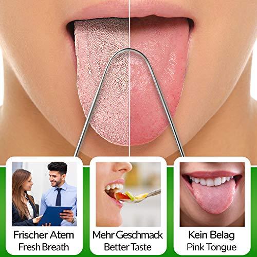 Zungenreiniger Zungenschaber ausreinemEdelstahlzum Mundgeruch bekämpfen von YOGAMEDIC – Zungenreinigung – Frischer Atem – Zungenbürste – Ayurveda - 3