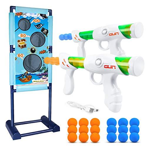 DX DA XIN Bewegliche Zielscheibe Set, Ziel Schießen Spielzeugpistolen für Kinder mit 2Pcs Popper Gun Dual Battle Pistole und 18 Schaumbälle Spielzeug für Jungen Rollenspiele