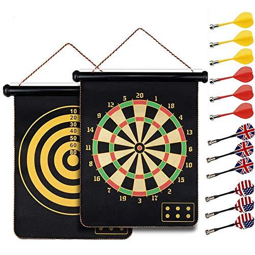 HelaCueil Magnetisch Sichere Dartscheibe Dartboards ∅38cm für Kinder und Erwachsene - Doppelseitige (mit 12 Pfeilen)