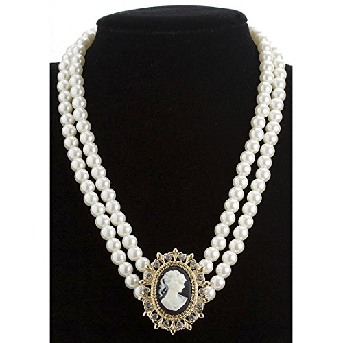 Amakando Cameo Kette Rokoko Halsschmuck Barock Halskette Perlenkette mit Brosche Karnevalskostüme...