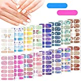 16 Sheets Full Wrap Nail Polish Stickers Self-Adhesive Nail Art Decals Strips Manicure Kits Nail Art Designswith Nail Files for Women Girls DIY Nail Art Decoration (Butterfly Style)
