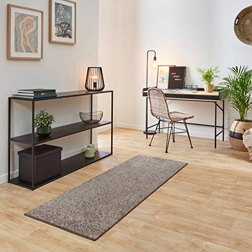 Carpet Studio Ohio Alfombra Pasillo 57x150cm, Alfombras para Dormitorio, Cocina & Pasillo, Fácil de Limpiar, Superficie Suave, Pelo Corto - Beige