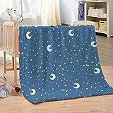 Manta de Franela Estrellas de Luna Azul de Dibujos Animados Súper Suave Cálida Acogedora Manta de Lana 3D Impresión para decoración del hogar sofá Cama Viajes 180 x 200 cm