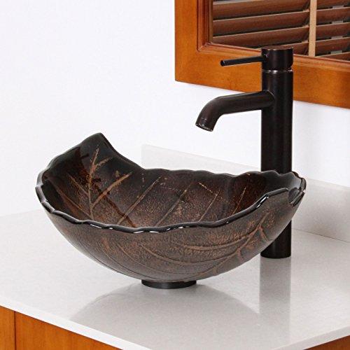 ELITE Autumn Leaves Design Tempered Bathroom Glass Vessel Sink & Oil Rubbed Bronze Faucet Combo