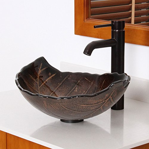 ELITE Autumn Leaves Design Tempered Bathroom Glass Vessel Sink & Oil Rubbed Bronze Faucet Combo