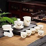 Juego de té portátil Kung Fu, tetera japonesa china de porcelana simple con mango y set de té, exquisito y excelente regalo de té