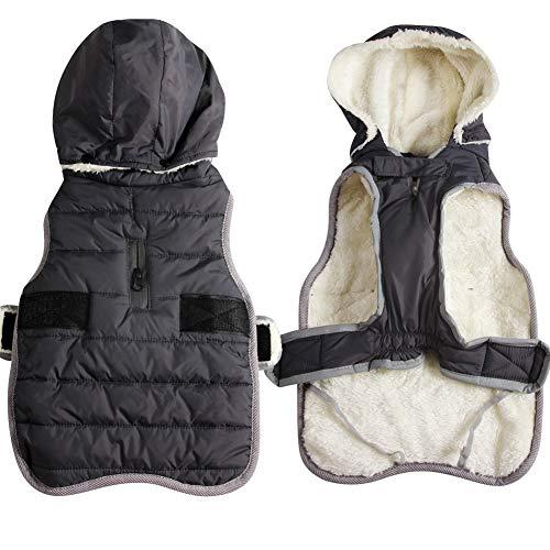 JoyDaog Fleece Hund Hoodie für mittlere Hunde warme Welpenjacke für kalten Winter wasserdichte Hundemäntel mit Kapuze,Grau M