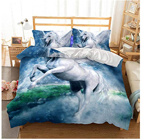 Raaooaceo Duvet Cover with 2 Pillowcases 3D Printed Cartoon animal white flying horse Bedding Set with Zipper Closure Unique Design Anti-allergic Duvet Cover King size 240 x 220 cm -Baby bedding