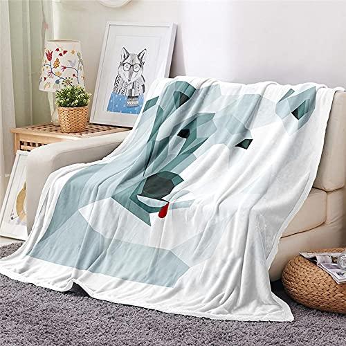 Mantas para Sofa Batamanta Mujer de Franela y Sherpa Manta Bebe Sofa Mantas con Estampados para la Cama y el Sofá 130x150 cm Oso Polar