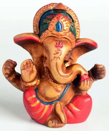 BUDDHAFIGUREN/Billy Held Ganesha Ganapati Ganesh Statue aus Resin 6,5 cm bemalt