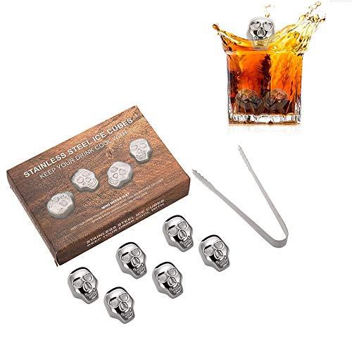 XTDGN 6 PCS wiederverwendbarer Edelstahl Eiswürfel, Metall Whisky-Steine mit Eiszange, Schädel geformt, Lebensmittelqualität Material für Whisky-Bier, Wodka Chillers, Kaufmännischer