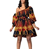 Multifit Women Boho African Floral Print Pleated Short Midi Dress Multi-Way Dress for Casual Rave Club Party Orange