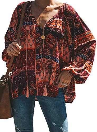 FIYOTE Damen Blusen Elegante Oberteile V-Ausschnitt Tops Casual Hemd Langarm Shirt