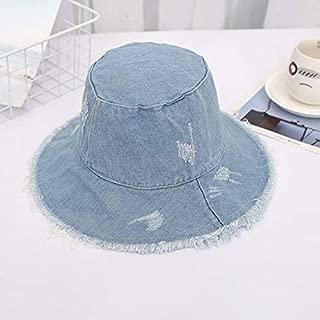 Zxx Summer Hat, Sun Cap Leisure Student Bucket Hat Portable Rough Selvedge Beach, 5 Colors Optional Sunhat (Color : Denim Blue)