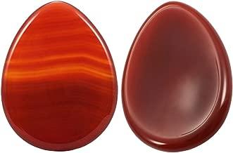 rockcloud Worry Stone,Thumb Palm Stones for Anxiety, Healing Crystal, Water Drop Shape, Carnelian