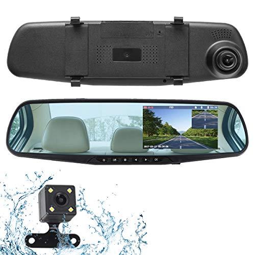 ドライブレコーダー 前後カメラ バックカメラ ミラー型 ミラーモニター 4.3インチ 1080P 500万画素 Full HD 170°広視野角 常時録画 高速起動