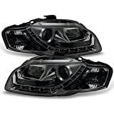 For 06-08 Audi A4 B7 Sport Sedan Smoked Smoke DRL Daytime LED Strip Projector Headlights Lamps Left + Right