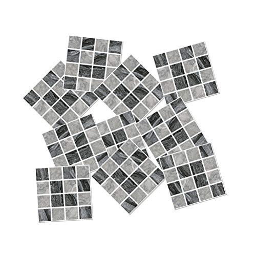 VOSAREA 15 Piezas calcomanías de Pared 3D Autoadhesivas patrón de Mosaico de Cristal Gris Negro Pasta de Pared Adhesivo a Prueba de Agua Pegatinas de Pared para Sala de hogar 10 * 10 cm