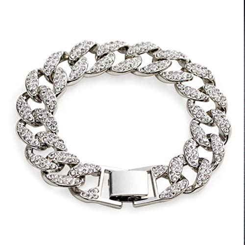 QIN Pulsera de Cadena de eslabones Gruesos cubanos Pulseras de Cristal de Lujo Punk para Mujeres Hombres Joyería Brazaletes de Diamantes de imitación de Color Dorado Bling Nuevo