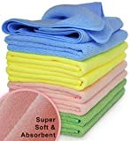 VibraWipe Microfiber Cleaning Cloth 8-Pack, Large Size 14.2'x14.2', Trap Dust, Dirt and Pet Dander in Split Fibers. Absorb up to 5X Their Weight in Liquid – Machine Washable, Reusable and Lint-Free