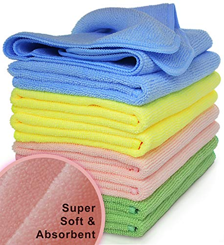 VibraWipe Microfiber Cleaning Cloth 8-Pack, Large Size 14.2'x14.2', Trap Dust, Dirt and Pet Dander...