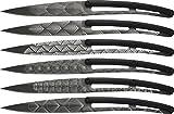 deejo - Juego de 6 Cuchillos de Mesa, Tatuaje, Titanio, ABS, Color Negro/Art Deco - Juego de 6 Cuchillos de Mesa Bistro - Cuchillas microdentales fijas - Acero Inoxidable 420 - Diseño Moderno