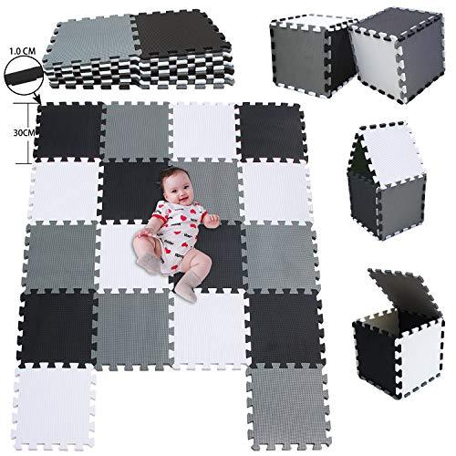 MSHEN 18 Stück Puzzlematte | Kälteschutz,abwaschbar Kinderspielteppich Matte | puzzlematte Baby Trainingsmatte.Größe 1,62 Quadrat.Weiß-Schwarz-Grau-010412g18