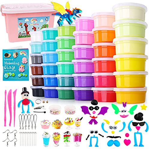 HOLICOLOR Air Dry Clay Kit, 36 Colors Magic Clay Ultra Light Modeling Clay for...