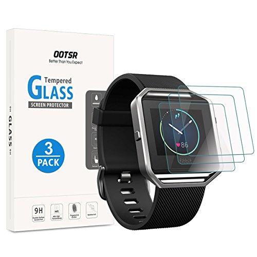 OOTSR 3 pezzi Pellicola protettiva per Fitbit Blaze, Proteggi schermo in vetro temperato per Fitbit Blaze [Anti-graffio] [No-Bubble]