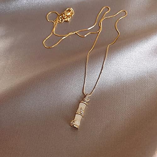 Collar Colgante Cadena Collares Hombre Mujer Collar Nuevo Y Sencillo Colgante En Forma De Bambú para Mujer, Cadena De Clavícula para Mujer Coreana, Joyería De M