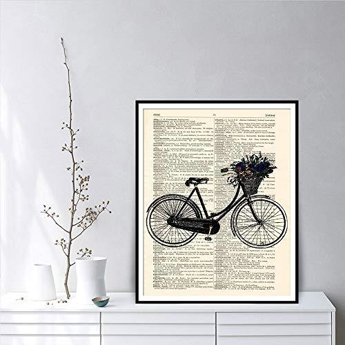 Geiqianjiumai Antikes Wörterbuch Fahrrad Kunstdruck Kunstdruck Schlafzimmer Wandbild Wandkunst Malerei Poster und Drucke rahmenlose Malerei 39x54cm