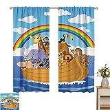 Cortinas opacas Colección de decoración del arca de Noé, grupo de dibujos animados de animales en el arca de Noé, obra de arte con diseño de vítores infantiles, azul peru amarillo, cortinas de oscurec