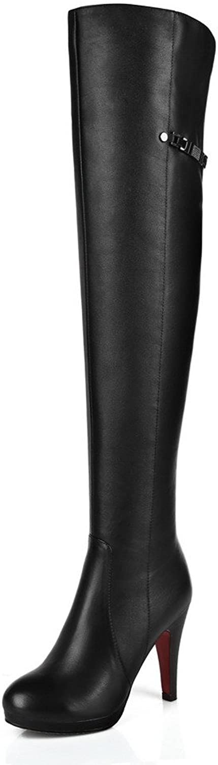 WeenFashion Women's Microfibre High-Heels Round-Toe Boots with Stiletto and Zippers