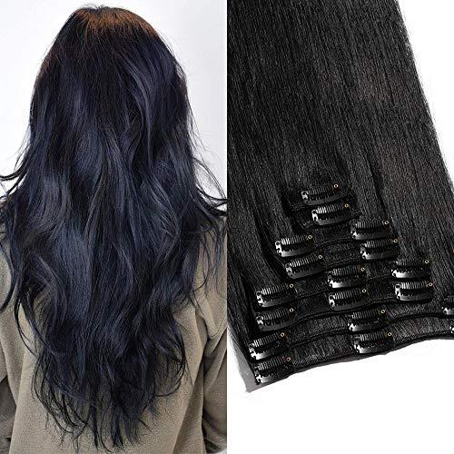 TESS Clip in Extensions Echthaar Haarteile Haarverlängerung Standard Weft Grad 7A Lang Glatt guenstig Remy Human Hair 8 Tressen 18 Clips 60cm-120g(#1 Schwarz)