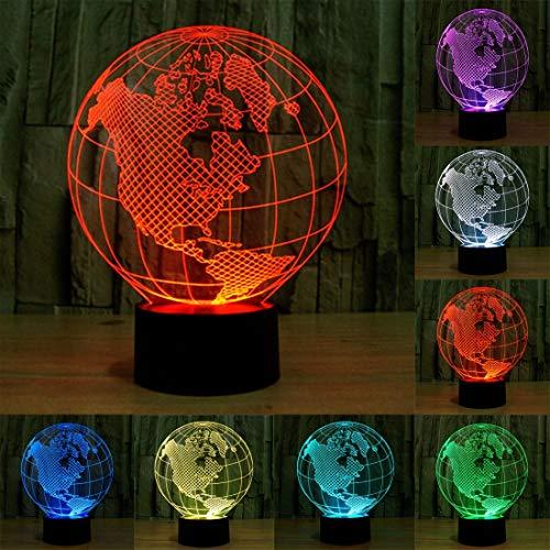 3D Touch Light-America Globe Style 3D Touch Switch Control LED Luz, 7 Color Descoloración Creativo Visual Estéreo Lámpara de Escritorio Lámpara de Noche
